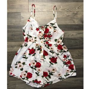 Shein, large, floral button down romper